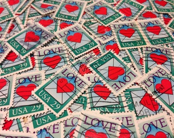 100 love Stamps - 100 used postage stamps - love envelopes, heart stamps