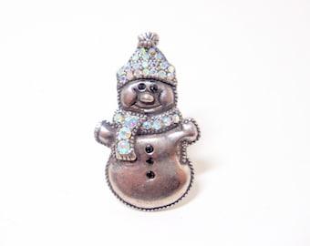 Snowman Brooch- Winter Pin- 1980 Jewelry- TC Brooch- Snowman Pin- Winter Jewelry- Hat Pin- Scarf Pin- Snowman Jewelry- Rhinestone Brooch