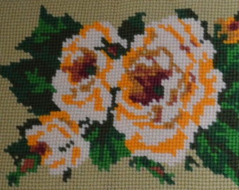 Vintage Needlepoint Home Decor Hand Stitched Wall Hanging or Pillow Yellow Roses on Yellow Green Back Ground Large