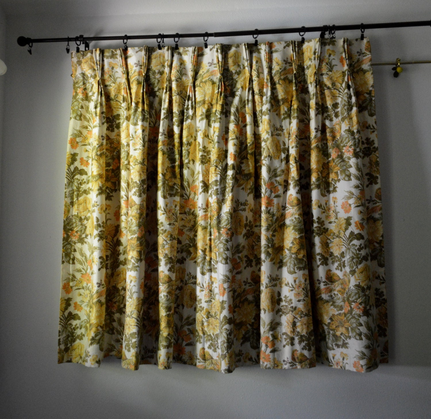 Vintage Curtains 1960s Waverly Fabric Custom Made Drapes With