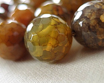 """14mm Micro Faceted Green Brown Amber Gray Multi-tone Dragon Vein Round Beads, large 14mm, half strand, 7.75"""""""