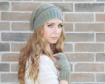Women's Slouchy Hat and Fingerless Gloves Set, Women's Slouchy Hat, Women's Fashion, Fall Accessory