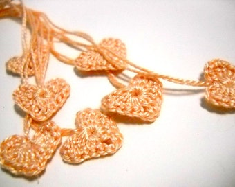 Tiny Crochet Hearts, Light Peach Wedding Decor, Bridal Shower, 7 Embellishments, Romance, Love, Cottage Chic
