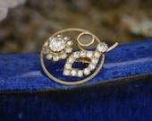 vintage daisy brooch crystal brooch