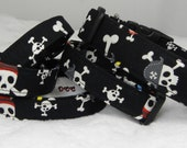 Dog Collar Pirate Skulls Black Blue Red White Day of the Dead FUN Adjustable Collar and D Ring.FUN Choose Size Halloween Pets Collars Dogs