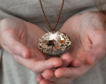 Bridal Necklace - Topaz Crystal Necklace - Topaz Brighten Necklace - Geometric Carm Necklace - Bohemian Bridal Necklace - Free Shipping