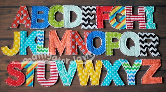 Fabric Alphabet Letters Fabric letters Lots of colors fun learning toy car toy Educational Letters