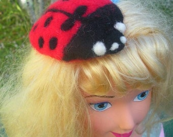 Needle Felted Lady Bug Hair Clip Fascinator