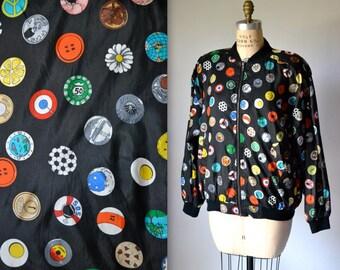 90s Vintage Black Silk Bomber Jacket by Nicole Miller Polka Dot Pop Art//Vintage Bomber Jacket with Poker, NYC, Chocolate Medium Large