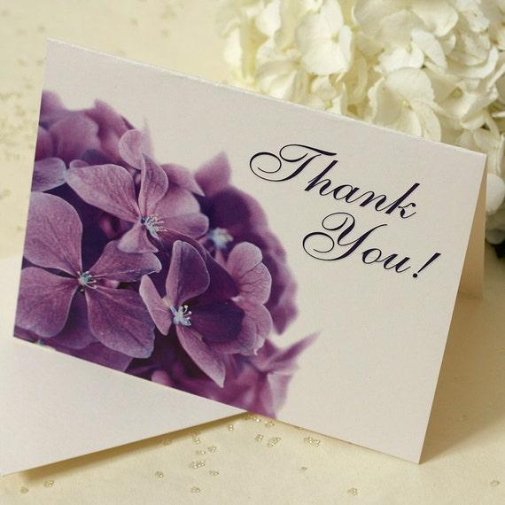 Purple Hydrangea Thank You Card, Thank You Note, DEPOSIT