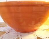 VINTAGE ORANGE BOWL ----- red orange, banded, pottery