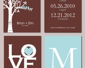 "Personalized Family Tree Birthdate Print Set - What a difference a day makes Love Is All You Need Mongram - Set of four art prints -  8""x10"""