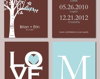 """Personalized Family Tree Birthdate Print Set - What a difference a day makes Love Is All You Need Mongram - Set of four art prints -  8""""x10"""""""