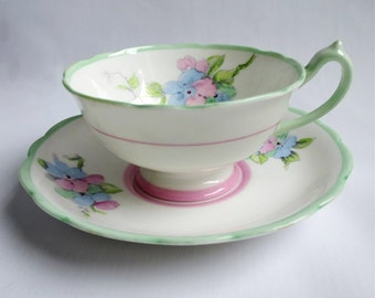 Vintage Paragon Tea Cup and Saucer /  Pink, Mint Green, and Blue Teacup and Saucer  /  Gifts For Her