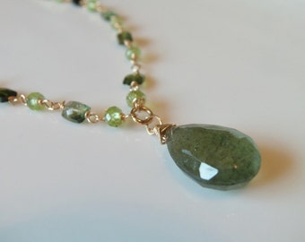 Moss Aquamarine, Tourmaline and Peridot Gemstone Wire Wrapped Necklace on 14kt Gold Fill