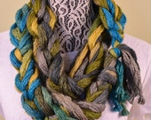 hand knit scarf- Braided infinity Scarf - Green, Olive and Turquoise 70 inches