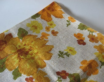 Quality coarse linen vintage fabric floral 60s 70s gold orange yellow screenprinted flowers