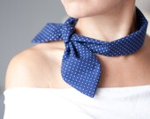 Women Neck Bow Tie Dark Blue White Polka Dot Retro Style Ladies Neck Scarf Collar neck tie headband indigo navy blue