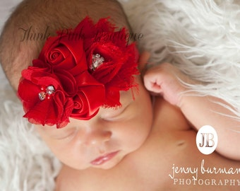 Red Baby Headband, Baby headbands,Christmas headband, Valentines headband, newborn  headband, flower headband, baby girl headband. Hair bows