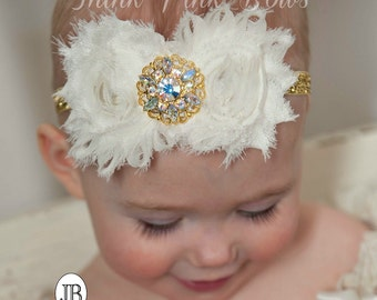 gold and Ivory baby Headband ,Baby girl Headband,Newborn Headband,Christening Headband, Baptism Headband, Baby Headbands, Girls Headbands. 8