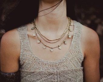 Tribal Beaded Brass Necklace~
