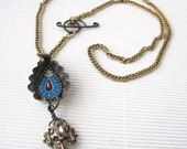 Good to the Last Drop Necklace- Assemblage Jewelry-Found Objects- Tin Images- Salvage Jewelry