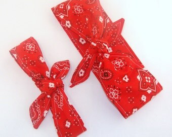 Mommy and Me Matching Red Bandana Headscarf Rockabilly Infant Toddler Women Baby Headband Hair Accessory