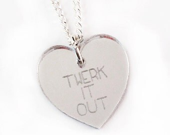 Twerk It Out Necklace - Silver Heart