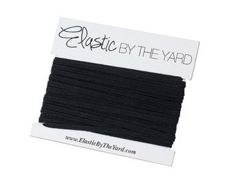 BLACK Skinny Elastic for Baby Headbands 1/8 inch - 5 yards