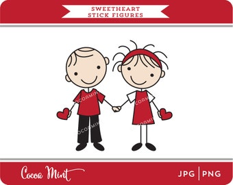 Sweetheart Stick Figures Clip Art