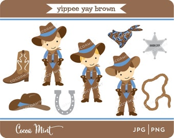 Yippee Yay Cowboy Brown Clip Art