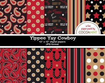 Yippee Yay Cowboy Digital Papers