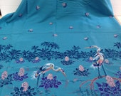 """Beautiful Aqua Turquoise Cotton Blend Fabric with Crane in Lily Pad with Palm Trees Border 45"""" x 62"""""""