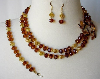 Amber Statement Necklace, Cocktail Necklace, Rust And Gold Crystal Necklace, 3 Piece Set,  Assymetrical Brooch, Mother Of Bride/Groom