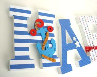 Wood Letter Set for Nursery - Anchor Theme - Baby Boy Bedroom Decorations - Hanging Wall Letters