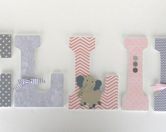 Custom Wood Nursery Letters - Pink and Gray - Wall Name Décor - Baby Girl Bedroom