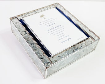 Stained Glass Keepsake Memory Box 7x9x2 Wedding Invitation Bride Groom Photograph Bat Mitzvah Birth Announcement Custom Made-to-Order