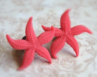 "Red Starfish Plugs for Gauged Ears Sizes 1 Inch, 7/8"", 3/4"", 5/8"", 9/16"", 1/2"", 00g, 0g, 2g, 4g , 6g, Regular earrings, Choose Your Color"
