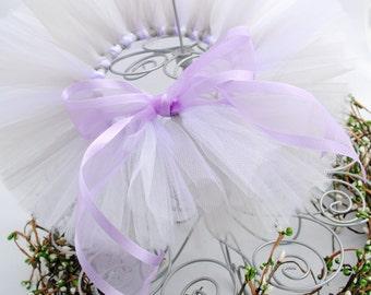 Newborn Tutu - Silver, White, and Lavender - Ready-To-Ship
