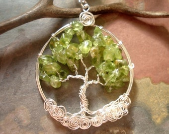 Peridot Tree of Life Pendant- Peridot Tree of Life Necklace- Wire Wrapped Gemstone Necklace- August Birthstone