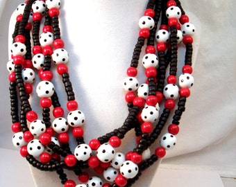 Red white and black multi strand polka dot bead necklace