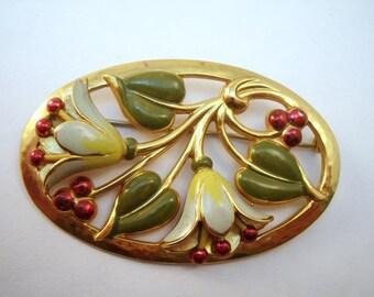 Enamel flower oval frame brooch