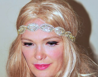 1920's Beaded Headband Great Gatsby Headband Boho Headband Headwrap Stretch Elastic Gift under 25