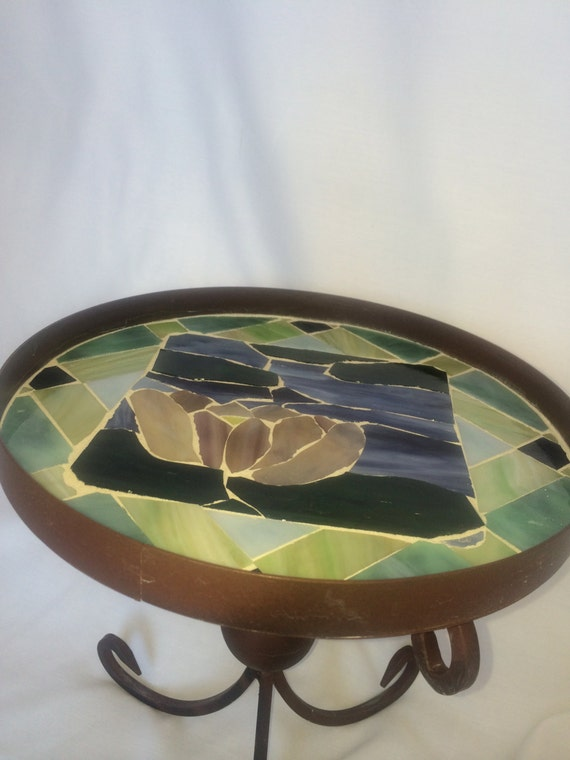 Small Mosaic Metal Garden Table Cute Decoration For A Patio