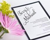 Bold Modern Elegant Script Jet Midnight Black on white cover  Wedding Invitations Invitation Invites Invite Sample