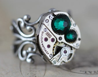 Steampunk Ring - Emerald May Birthstone Ring Statement Ring Swarovski Watch Ring  Unique Ring READY TO SHIP Steam Punk Jewelry Handmade