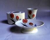 vintage Ceramic Bath Set, TULIPS, ivory orange blue and green, 1980's