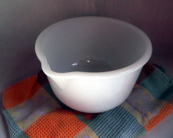 vintage White GLASS Batter Bowl, mixing bowl with Spout