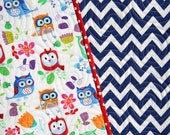 SALE Owl Quilt, Blue Chevron Blanket, Primary Colors Red Blue Green Orange, Nursery Bedding, Crib Cot, Gender Neutral, Boy or Girl
