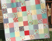April Showers Baby Quilt, Gender Neutral Bedding, Boy or Girl Blanket, Red Blue Yellow Green, Primary Colors, Patchwork Crib Cot